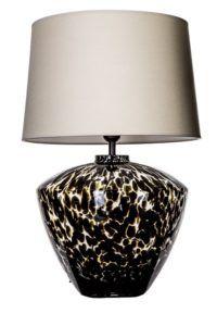 oryginalna lampa stołowa z szklaną podstawą
