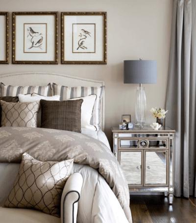 sypialnia i lampa stołowa w stylu nowojorskim
