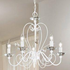 biały kryształowy żyrandol pięcioramienny w stylu glamour