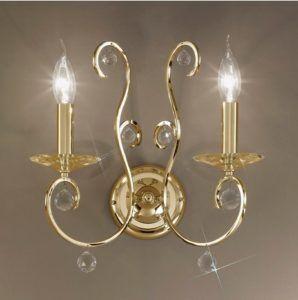 glamour - kinkiet złoty świecnziki podówjny