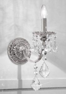 kryształowy kinkiet glamour przypodłogowy - srebro i szkło