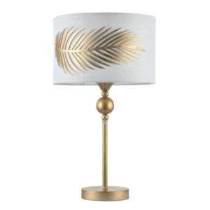 klasyczna lampa ze złota podstawą i jasnym kloszem