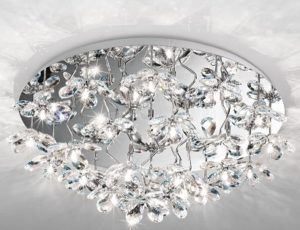 plafon glamour - srebro i kryształy