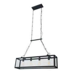 szklana lampa z żarówkami w czarnej obudowie w stylu scandi