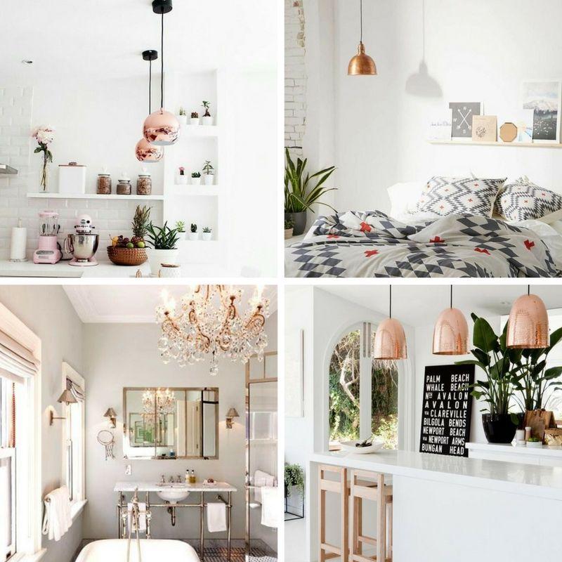 przykłady oświetlenia z wykorzystaniem lamp w miedzianym kolorze w domu