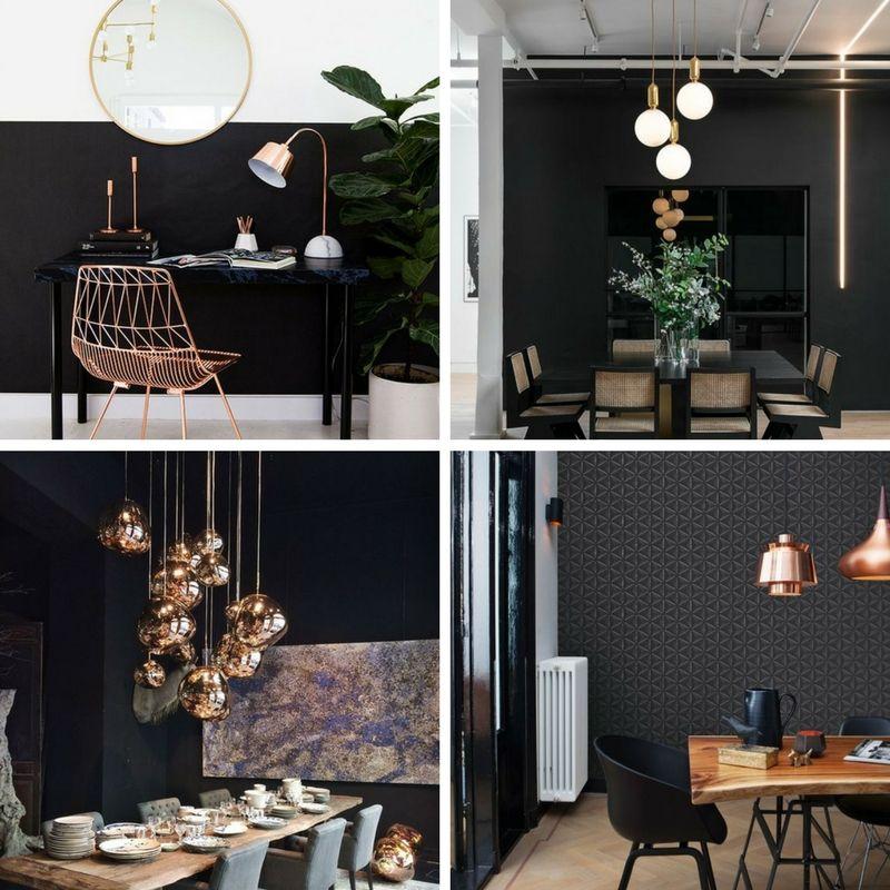 miedziane elementy oświetlenia dodają uroku i ciepłego klimatu domu