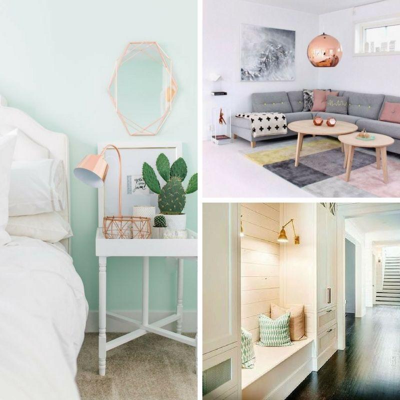miedziane lampy w salonie, sypialni i w przedpokoju