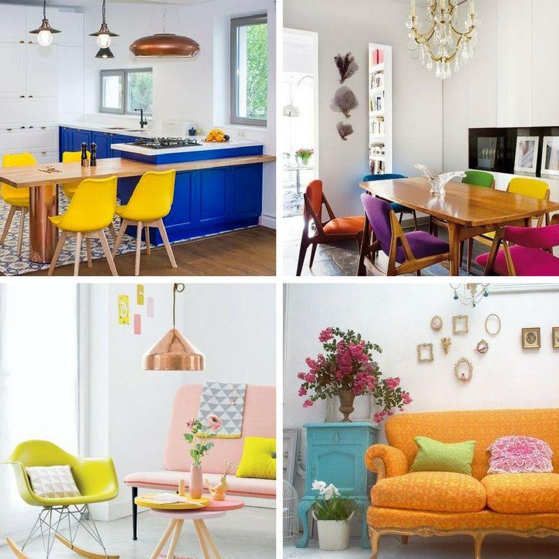 miedź lamp w zestawieniu z kolorowymi meblami w domu