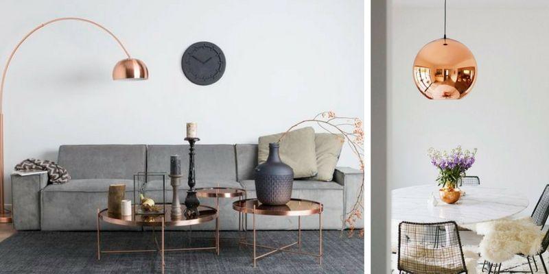 lampa podłogowa miedziana w salonie przy kanapie, lampa wisząca okrągła nad stołem