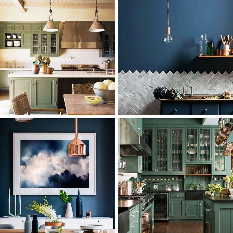 niebieskie i zielone pomieszczenia w zestawieniu z miedzianymi lampami