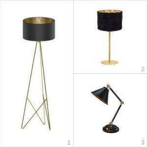 lampy mosiądz i czerń