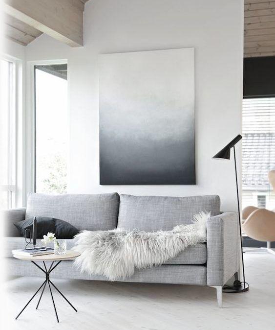 minimalistyczny design szary salon i oświetlenie salonu