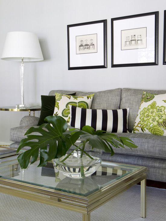 salon szarość i zieleń nowoczesna forma oświetlenia