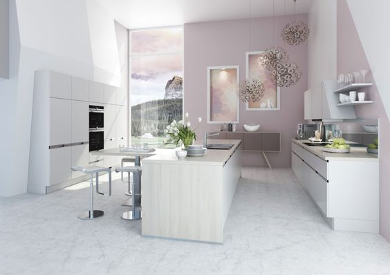 pastelowy róż kuchnia nowoczesna