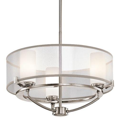 ekskluzywna lampa Hamptons - 3 źródła światła przeźroczysta matowa obręcz - metalowa konstrukcja