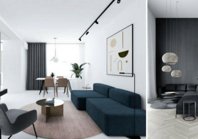 Wnętrze minimalistyczne czyli lampy i kolory - mniej znaczy więcej