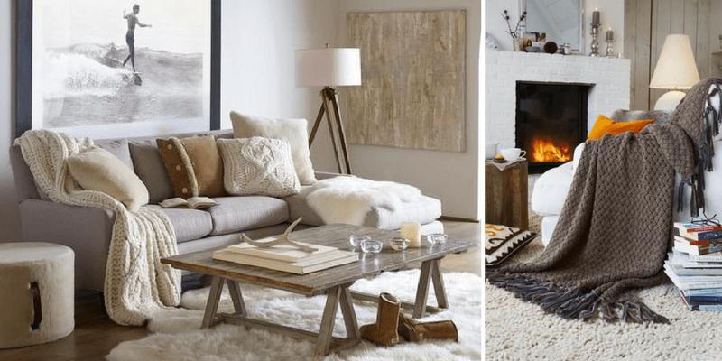 drewniany tripod z białym kloszem i abażurem do salonu