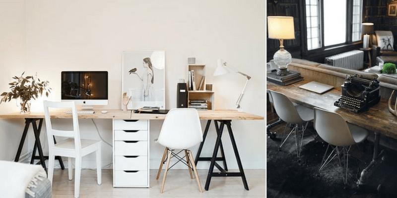 lampy stołowe do biura domowego - białe i z kloszami