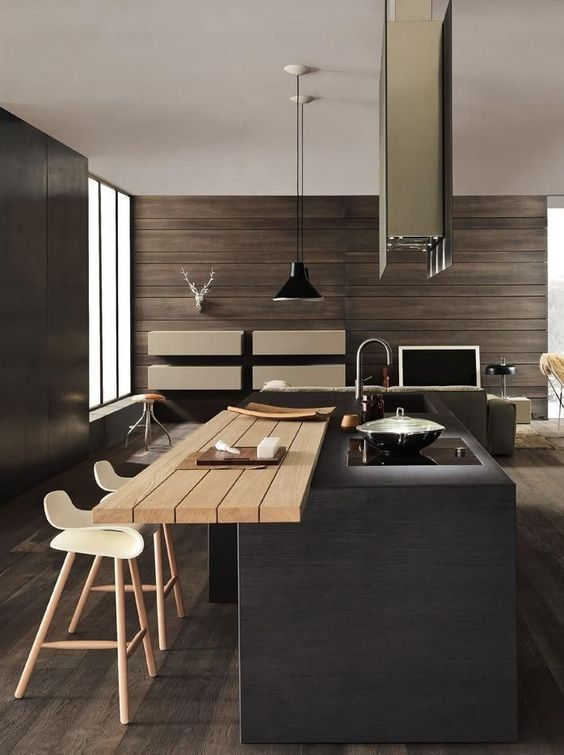 czarne lampy wiszące nad drewniany stół do kuchni