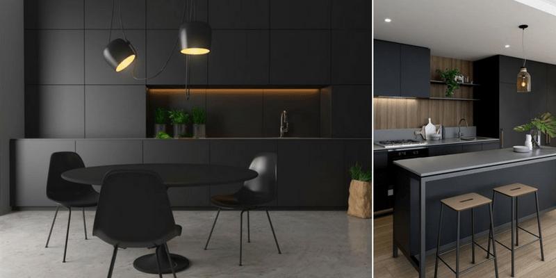 lampy wiszące do czarnych mebli w kuchni i szarego blatu