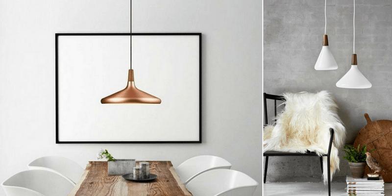 propozycje lamp wiszących do jadalni - rude i białe z drewnem - aranżacje