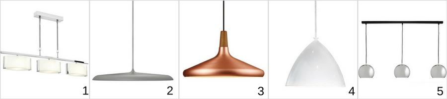 lampy wiszące w jadalni