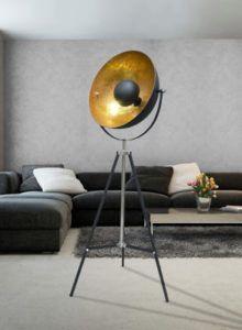 reflektor podłogowy czarny i miedziany - lampa podłogowa