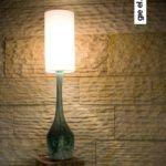 turkusowe szkło lampa stołowa