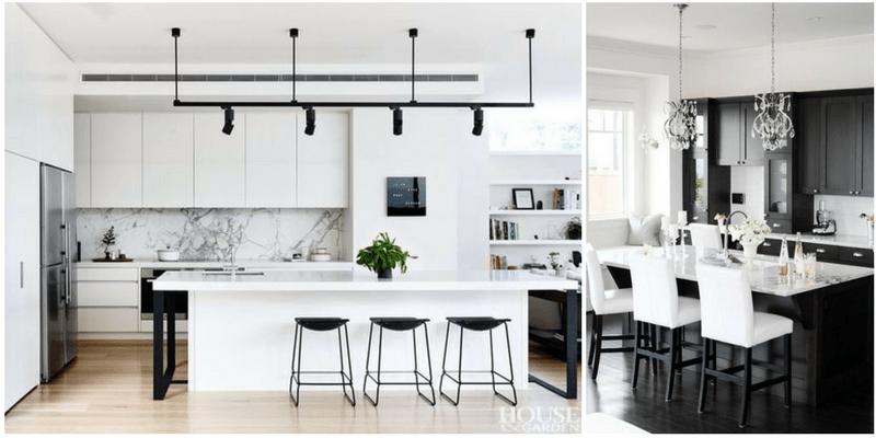 Kuchnia black&white – oświetlenie dla miłośników monochromatycznych rozwiązań