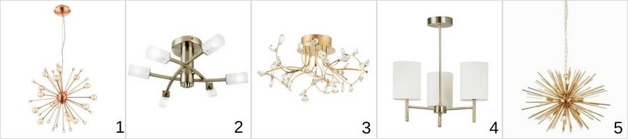 złote żyrandole w różnych stylach