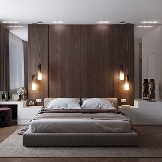 luksusowa sypialnia, oświetlenie wiszące