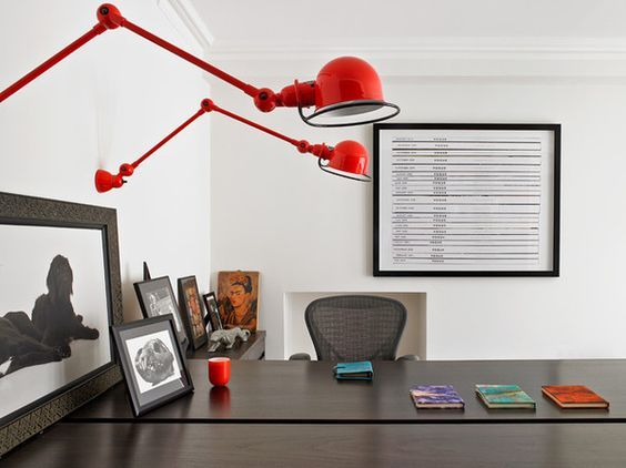 lampy ścienne nad biurkiem- aranżacja
