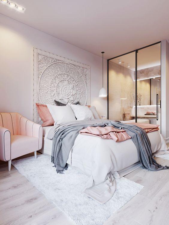 przytulna sypialnia, nowoczesne oświetlenie