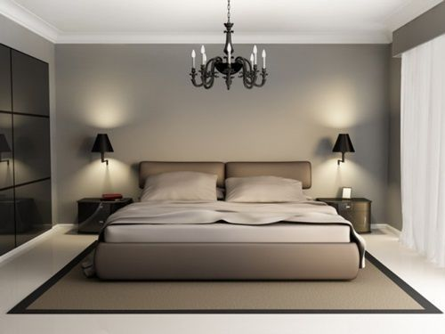 elegancka, klasyczna sypialnia czarne oświetlenie