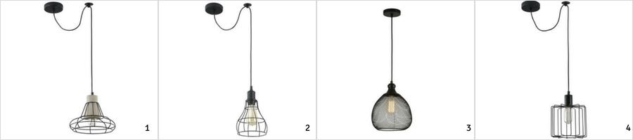 industrialne lampy z drutu