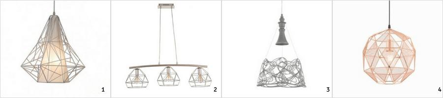 nowoczesne lampy wiszące z drutu