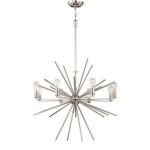 metalowy, industrialny żyrandol sputnik