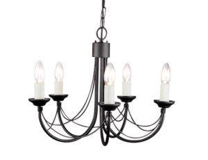 czarny żyrandol świecznikowy klasyczny, rustic