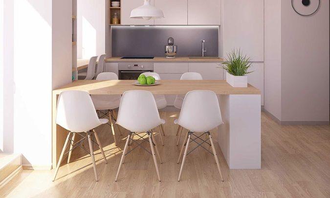 blat i podłoga w kuchni z drewna ten sam kolor