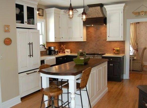 ciemny drewniany blat w białej kuchni