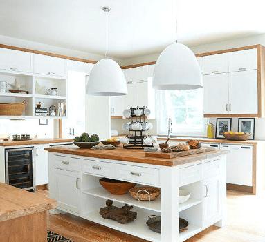 dwie duże lampy nad drewnianym blatem kuchennym