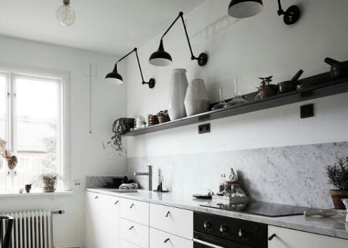 jakie lampy do białej kuchni - czarne