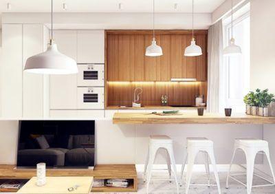 Biała kuchnia z drewnianym blatem - aranżacje i galeria