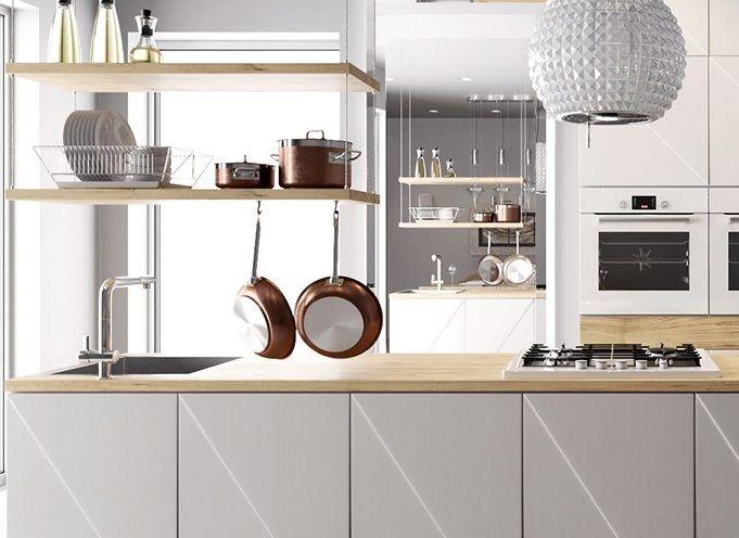 jasny sosnowy blat w bieli - kuchnia