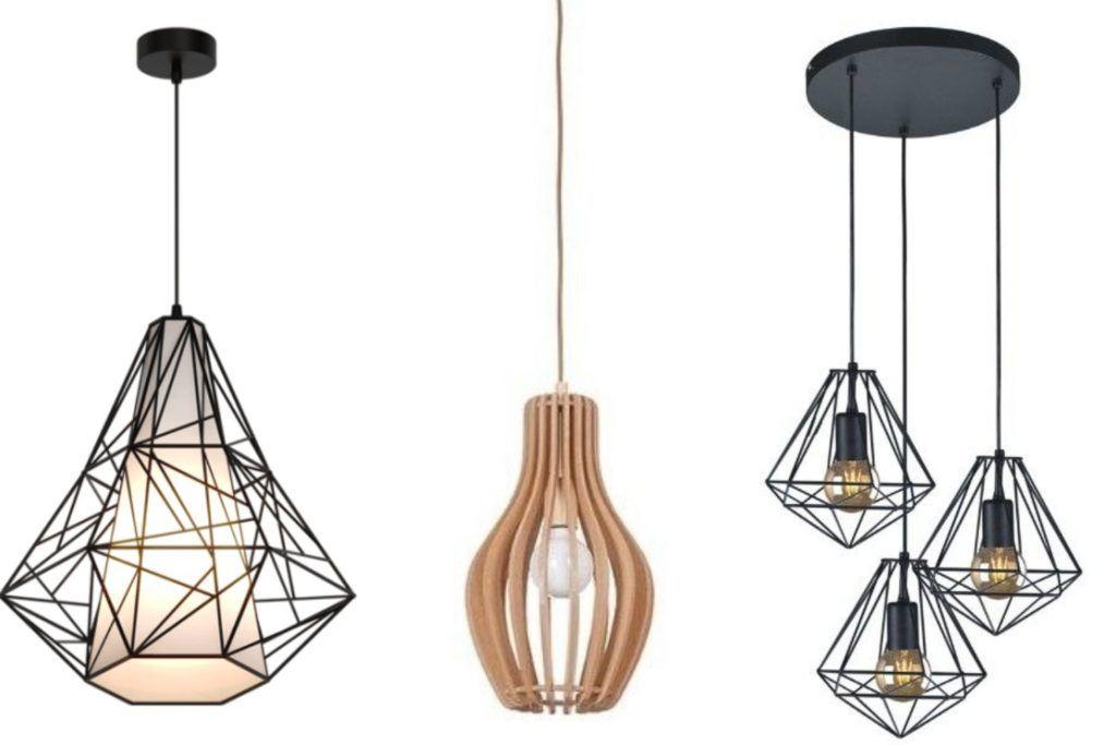 Czarne lampy druciane drewniana lampa z abażurem