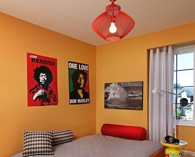 pokój dziecka z czerwoną lampą wiszącą