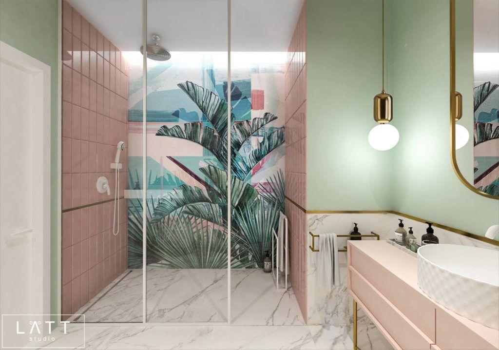 tapeta z palmami do łazienki