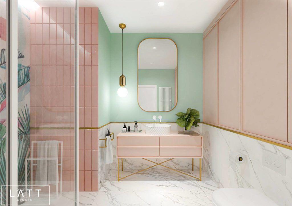 pastelowa łazienka z marmurem