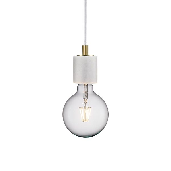 lampa marmurowa z dekoracyjną żarówką