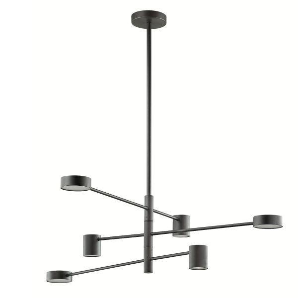 czarna prosta lampa led nad stół